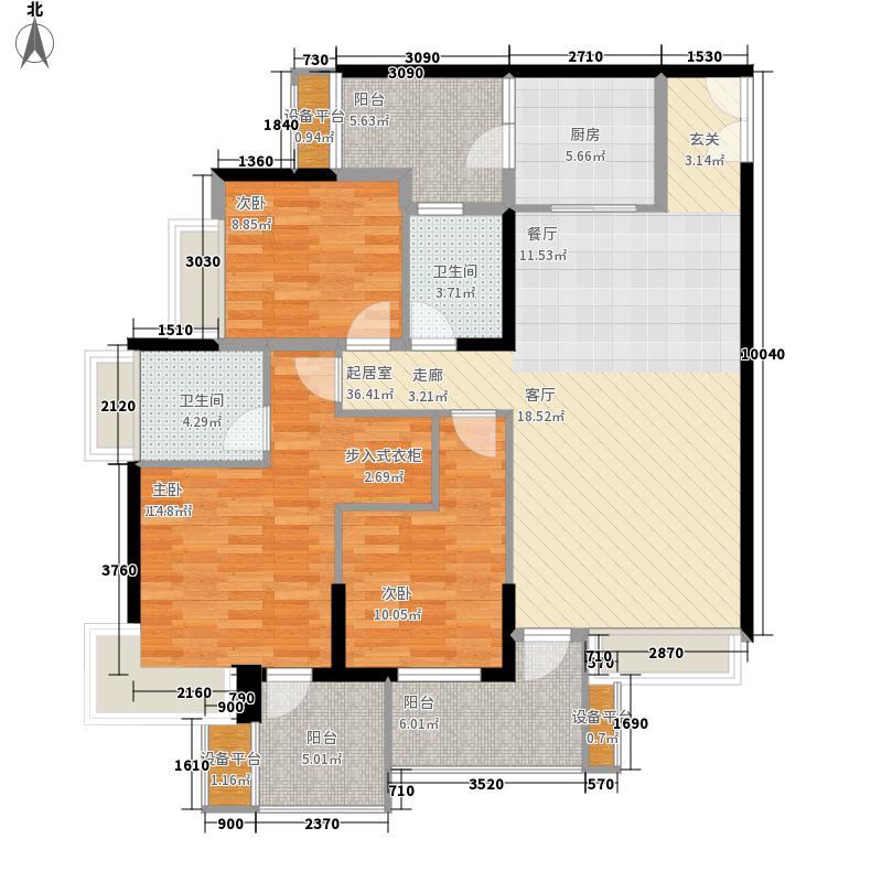 华润二十四城二期19、20、21号楼B1'户型3室2厅