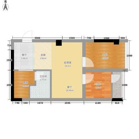 雍晟时代公馆2室0厅1卫1厨44.00㎡户型图