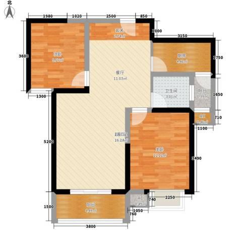 天香心苑2室0厅1卫1厨86.00㎡户型图