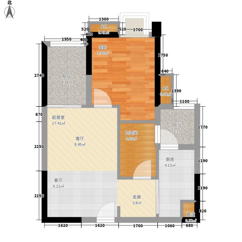 中海誉城55.00㎡A16栋05户型1室2厅