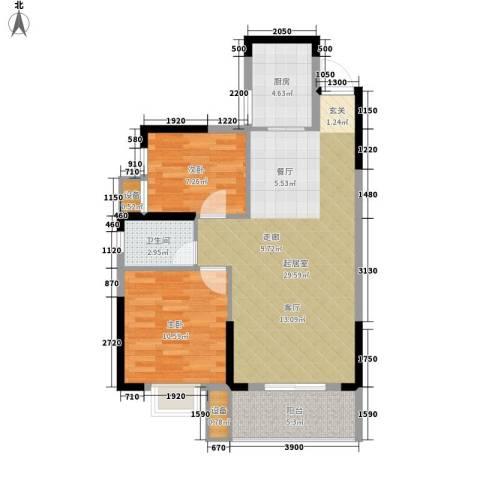 长城南雅名居2室0厅1卫1厨81.00㎡户型图