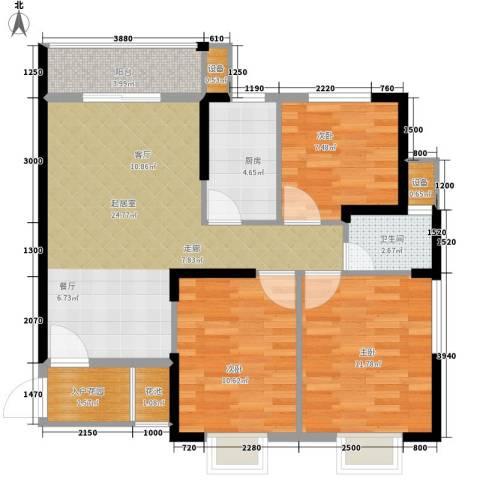 长城南雅名居3室0厅1卫1厨90.00㎡户型图