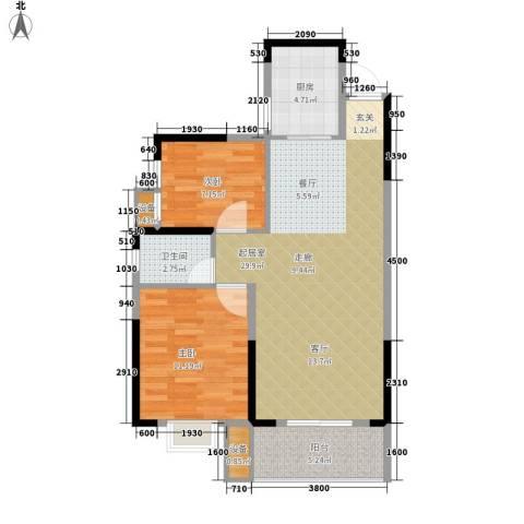 长城南雅名居2室0厅1卫1厨92.00㎡户型图