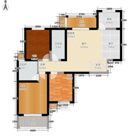 天香心苑3室0厅2卫1厨112.00㎡户型图