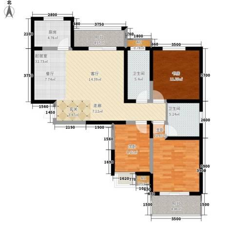 天香心苑3室0厅2卫1厨111.00㎡户型图