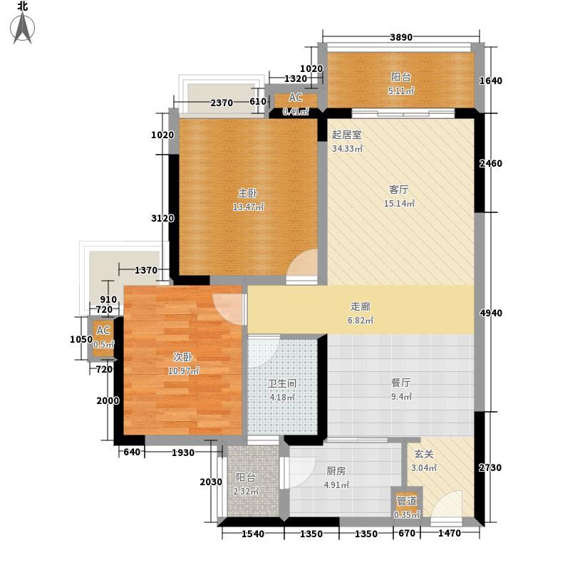 中海誉城87.00㎡A2栋06单位户型2室2厅
