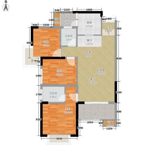 天天向上3室0厅2卫1厨94.00㎡户型图