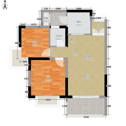天天向上2室0厅1卫1厨74.00㎡户型图
