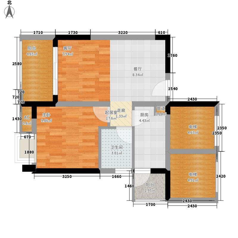 中海誉城55.00㎡A14栋标准层04单位户型1室2厅