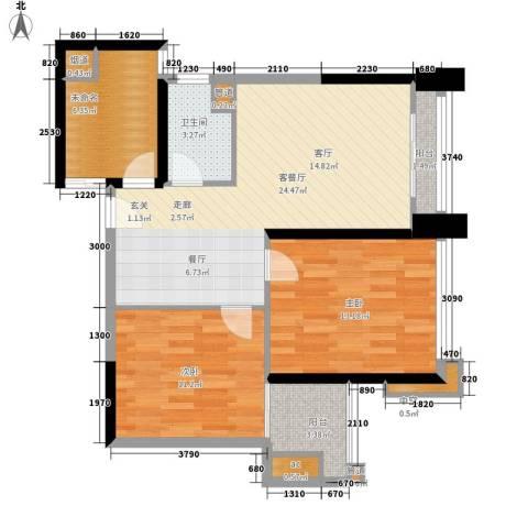 马赛国际公寓2室1厅1卫0厨75.00㎡户型图