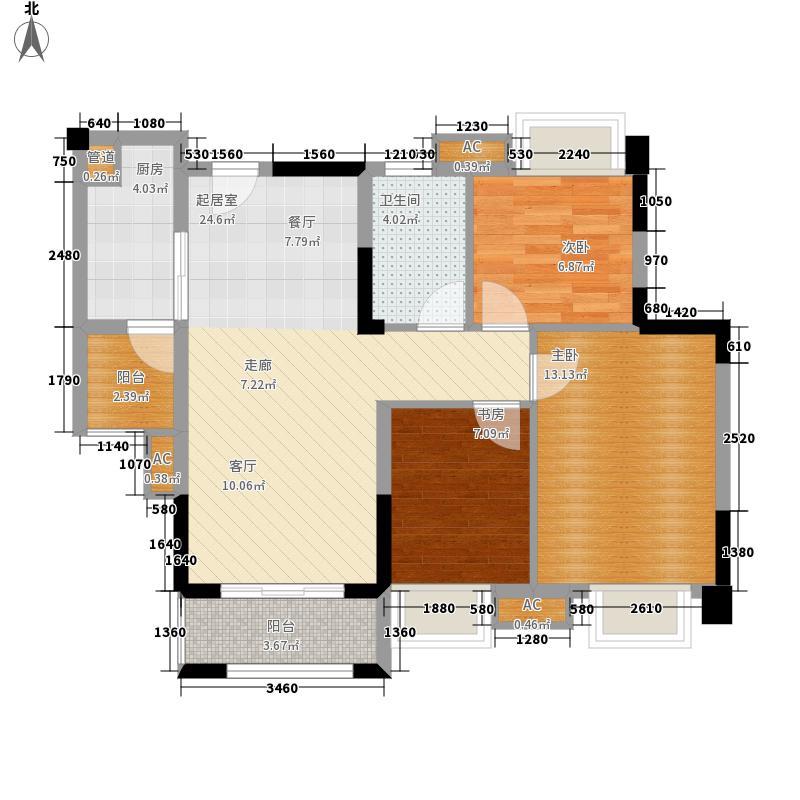 中海誉城93.00㎡A16栋01户型3室2厅