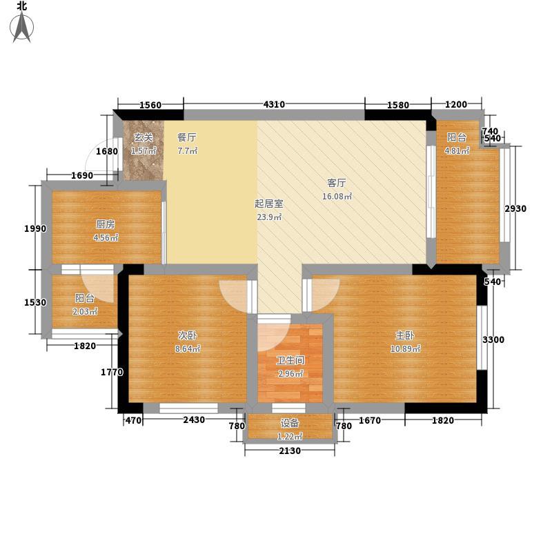金科廊桥水乡61.55㎡二期D6栋标准层5号房D7栋标准层3号房jpg户型2室2厅