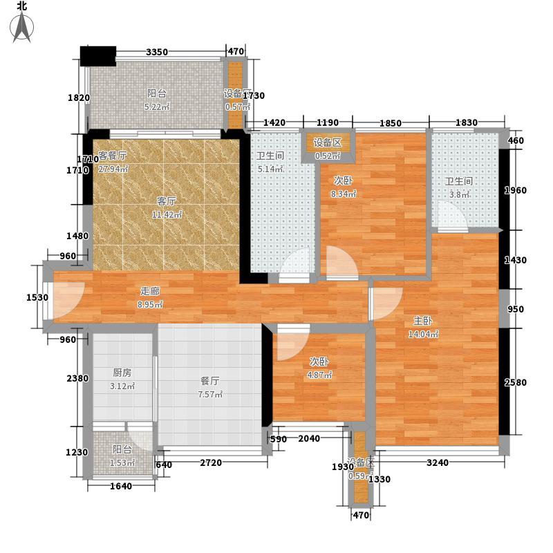 保利上城88.00㎡二期A户型3室2厅