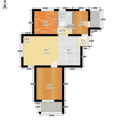 蓝海嘉苑2室0厅1卫1厨89.00㎡户型图