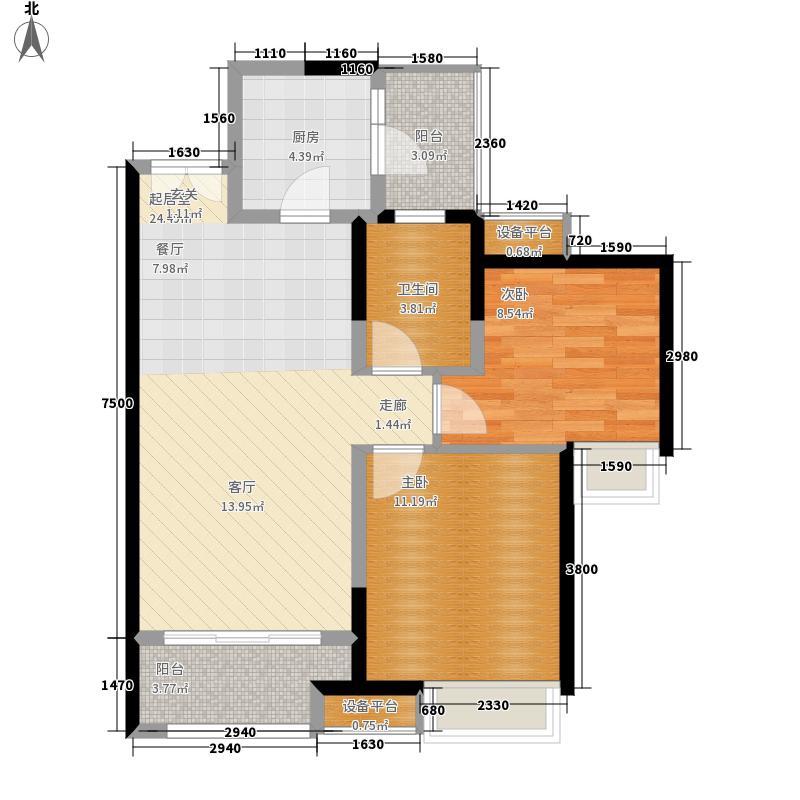 华润二十四城二期19、20、21号楼标准层D2户型2室2厅