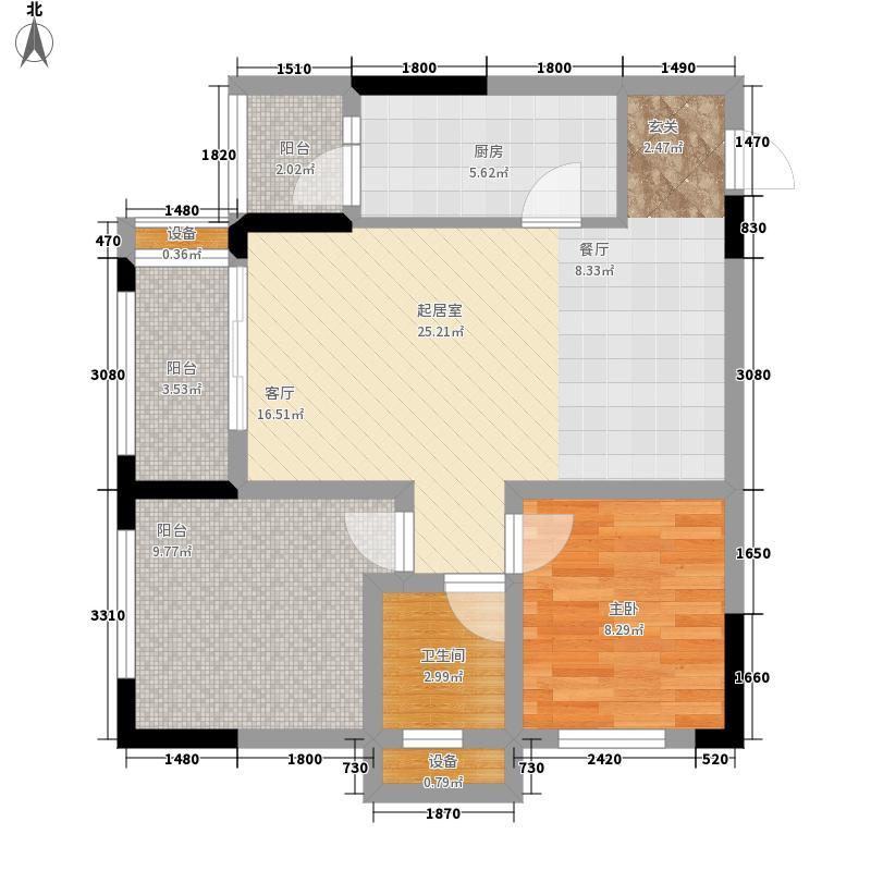 金科廊桥水乡二期D6栋标准层7号房、D7栋标准层1号房户型1室2厅
