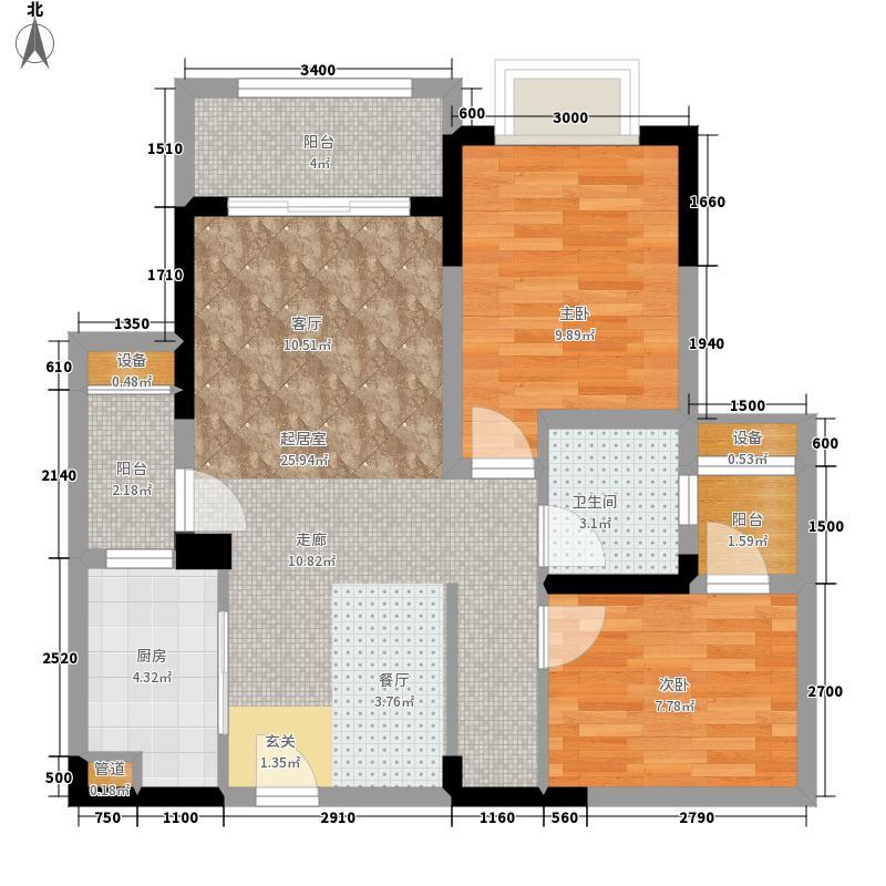 金茂珑悦63.79㎡一期1号楼标准层A-2户型