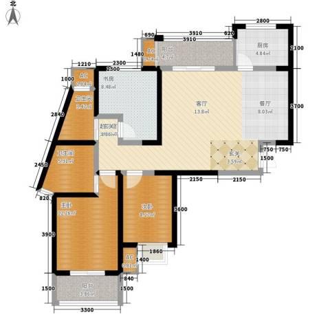 天香心苑3室0厅2卫1厨106.00㎡户型图