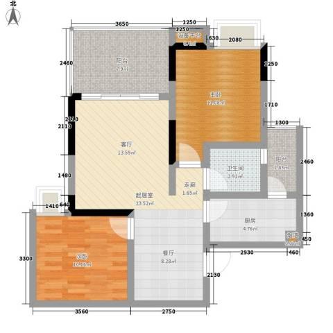 雅典汇2室0厅1卫1厨66.00㎡户型图