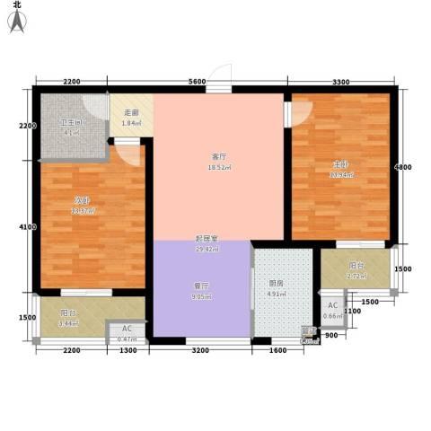 盛世家园2室0厅1卫1厨80.00㎡户型图