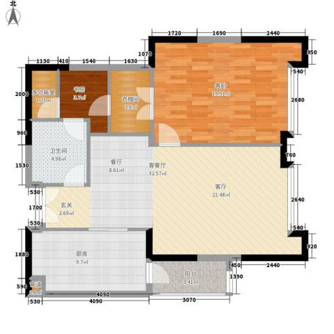 富力爱丁堡国际公寓2室1厅1卫1厨89.00㎡户型图