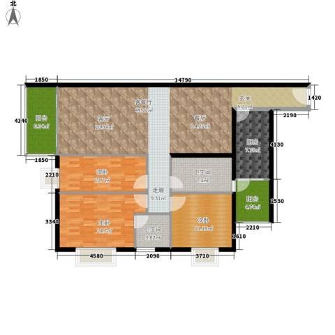 宏景台3室1厅2卫1厨129.00㎡户型图