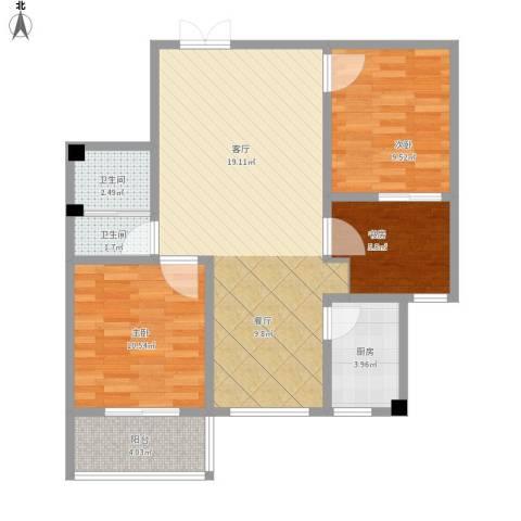 盛城东星3室1厅2卫1厨95.00㎡户型图