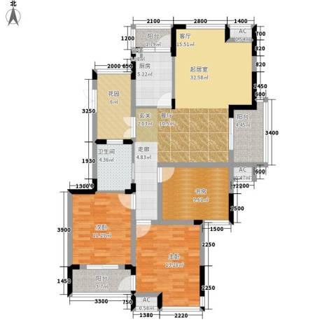 升华公园懿品3室0厅1卫1厨137.00㎡户型图
