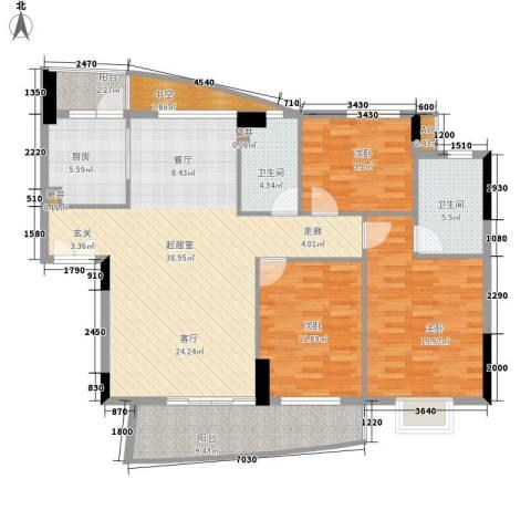 珠江花城3室0厅2卫1厨120.00㎡户型图