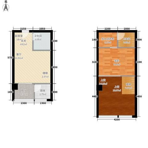 优活城1室0厅2卫1厨62.27㎡户型图