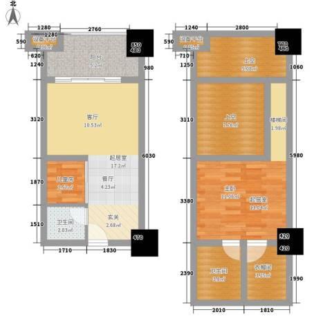 雅典汇1室0厅2卫0厨60.64㎡户型图