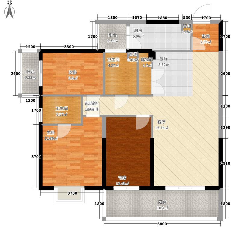 金泰国际127.01㎡3阳台A2-D户型3室2厅