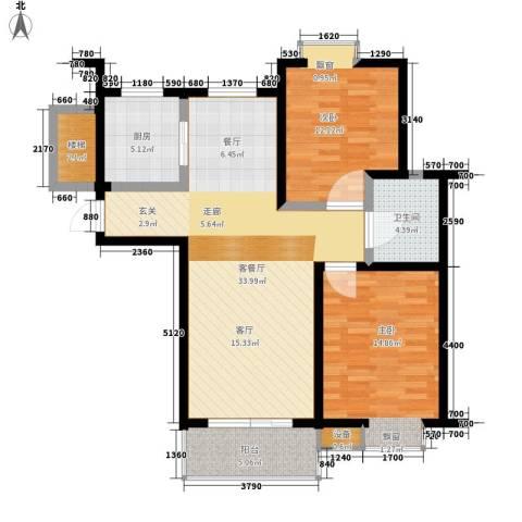 采香花园2室1厅1卫1厨90.00㎡户型图