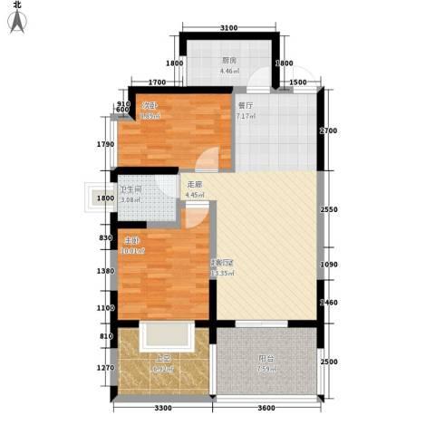 海棠别馆2室0厅1卫1厨76.10㎡户型图