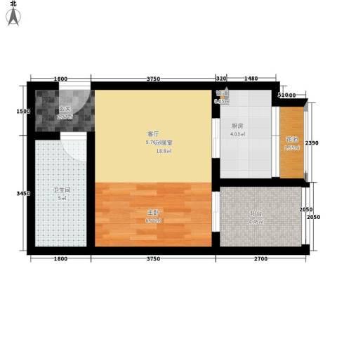 CLASS国际公馆1卫1厨45.00㎡户型图