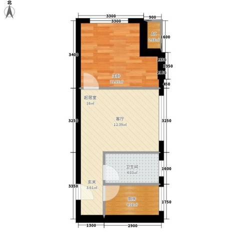 优活城1室0厅1卫1厨54.00㎡户型图