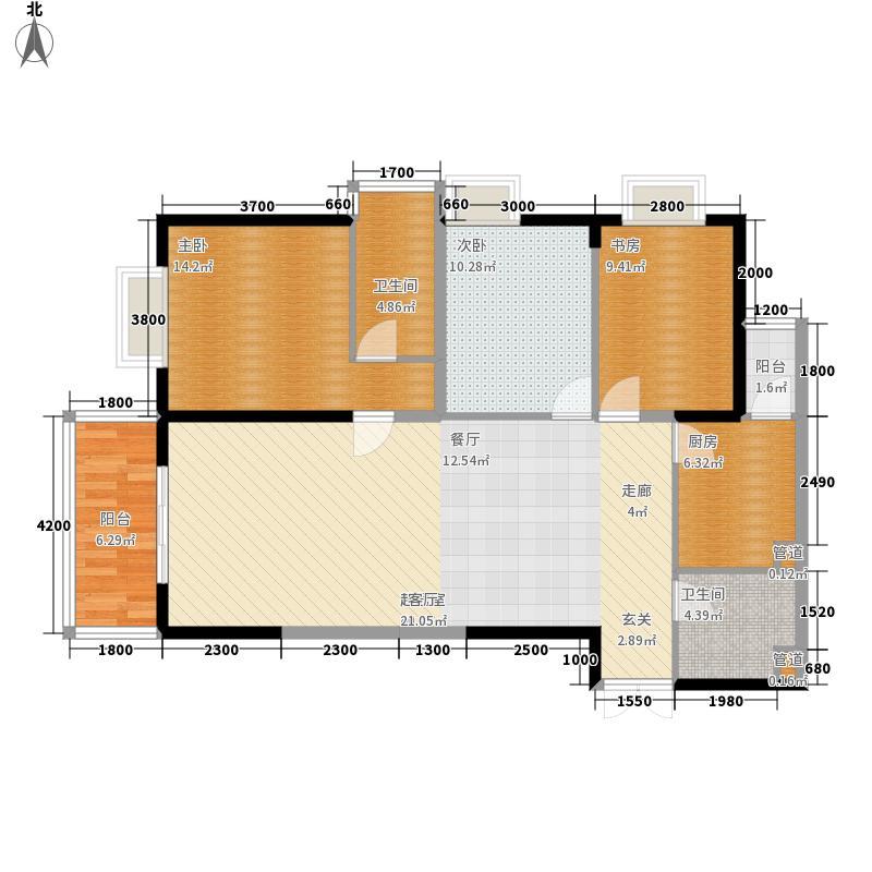 金泰国际130.88㎡A1-A1阳台户型3室2厅