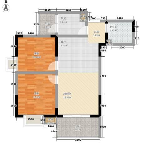 船舶云湖绿岛2室0厅1卫1厨79.06㎡户型图