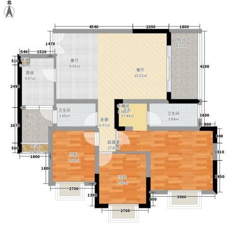船舶云湖绿岛3室0厅2卫1厨95.91㎡户型图