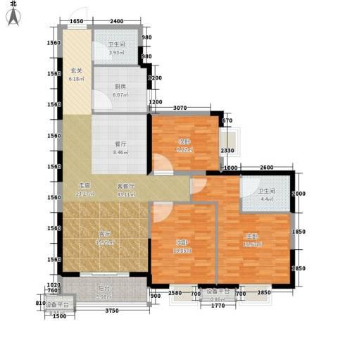 旺园大厦3室1厅2卫1厨136.00㎡户型图