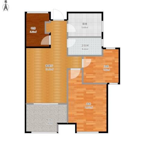 新城香溢紫郡3室1厅1卫1厨89.00㎡户型图
