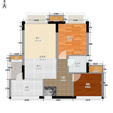 金色领地2室0厅1卫1厨59.00㎡户型图