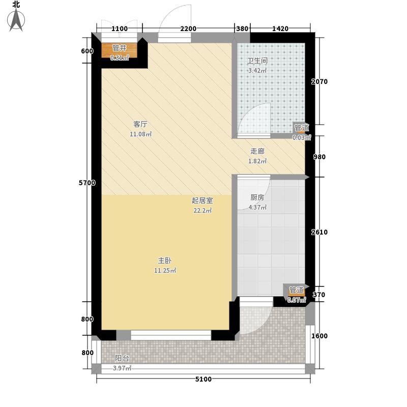 中铁人杰水岸53.00㎡高层15#B户型1室1厅
