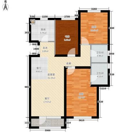 北辰新天地盛景湾3室0厅2卫1厨132.00㎡户型图