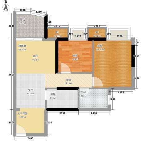瑞海水城2室0厅1卫1厨69.00㎡户型图