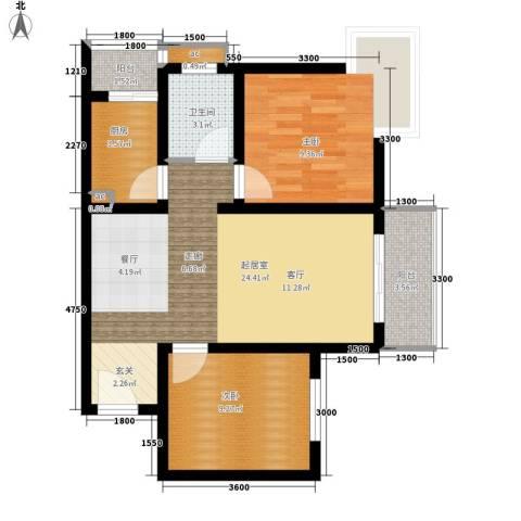 CLASS国际公馆2室0厅1卫1厨81.00㎡户型图