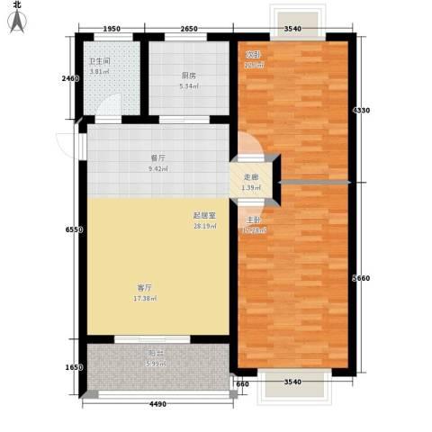 辰龙・香树湾2室0厅1卫1厨84.00㎡户型图