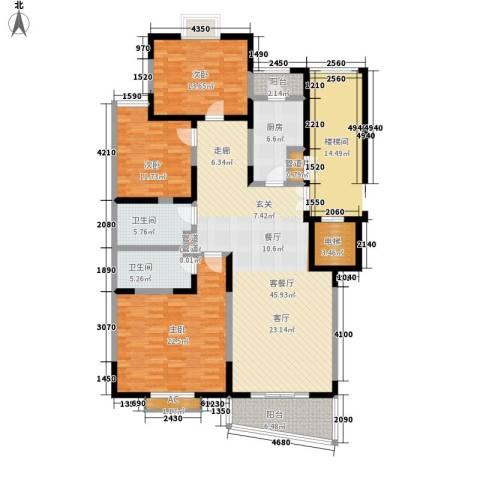 锦都花园3室1厅2卫1厨147.00㎡户型图
