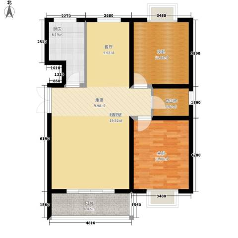 辰龙・香树湾2室0厅1卫1厨90.00㎡户型图