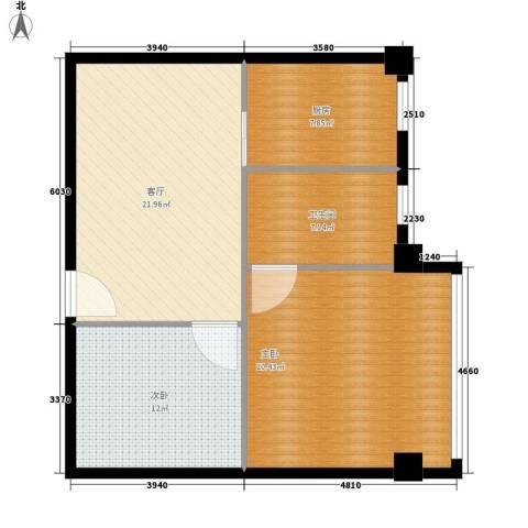 常青苑2室1厅1卫1厨76.00㎡户型图